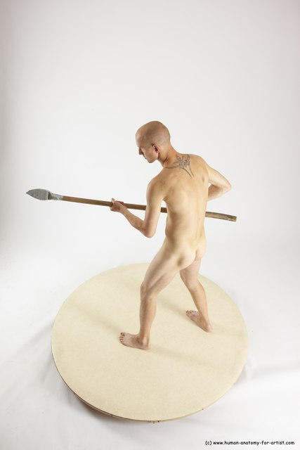 Nude Fighting with spear Man White Standing poses - ALL Slim Bald Standing poses - simple Multi angles poses