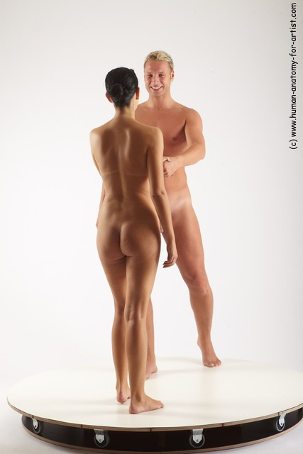 Nude Woman - Man White Standing poses - ALL Slim Long Blond Standing poses - simple