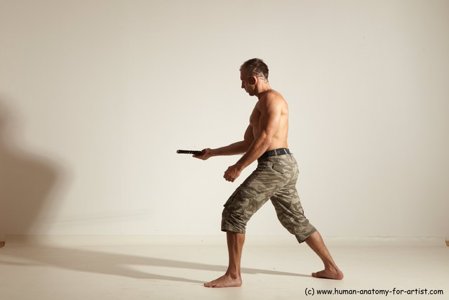 Casual Fighting with sword Man White Standing poses - ALL Muscular Short Brown Standing poses - simple Dynamic poses