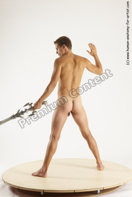 Nude Fighting with sword Man White Standing poses - ALL Athletic Short Brown Standing poses - simple Multi angles poses