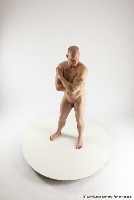Man White Standing poses - ALL Slim Bald Standing poses - simple Multi angles poses