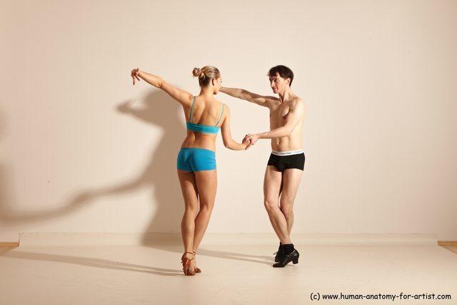 Underwear Woman - Man White Slim Short Brown Dancing Dynamic poses