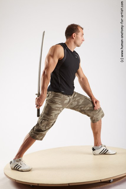 Photo of Casual Fighting with sword Man White Standing poses - ALL Muscular Short Brown Standing poses - simple