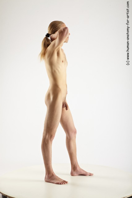 Nude Man White Standing poses - ALL Slim Long Blond Standing poses - simple