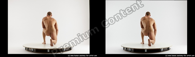 Nude Man White Kneeling poses - ALL Muscular Short Brown Kneeling poses - on one knee 3D Stereoscopic poses