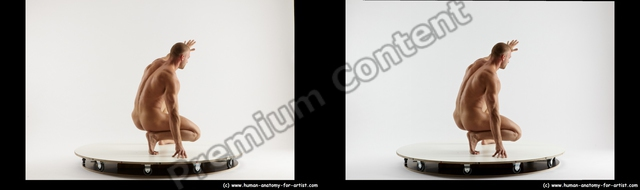 Nude Man White Standing poses - ALL Muscular Short Brown Standing poses - knee-bend 3D Stereoscopic poses