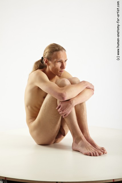 Nude Man White Sitting poses - simple Slim Long Blond Sitting poses - ALL