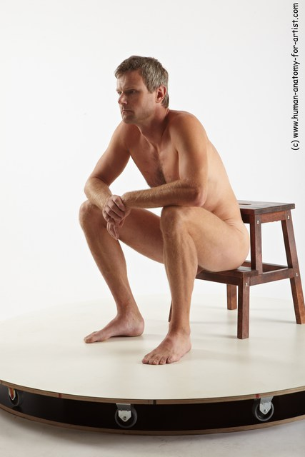 Nude Man White Sitting poses - simple Slim Short Grey Sitting poses - ALL