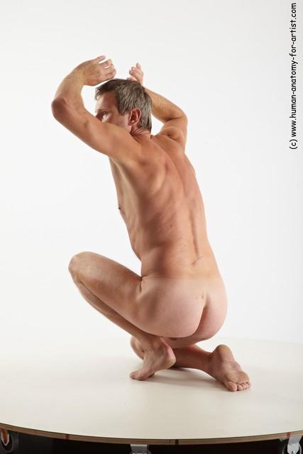 Nude Man White Kneeling poses - ALL Slim Short Grey Kneeling poses - on one knee