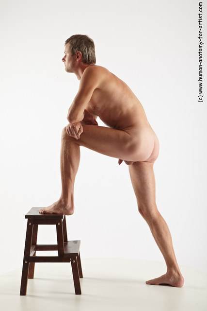 Nude Man White Standing poses - ALL Slim Short Grey Standing poses - knee-bend