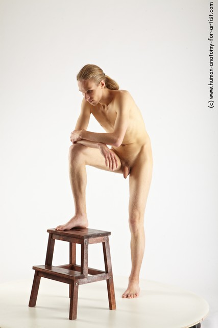 Nude Man White Standing poses - ALL Slim Long Blond Standing poses - knee-bend