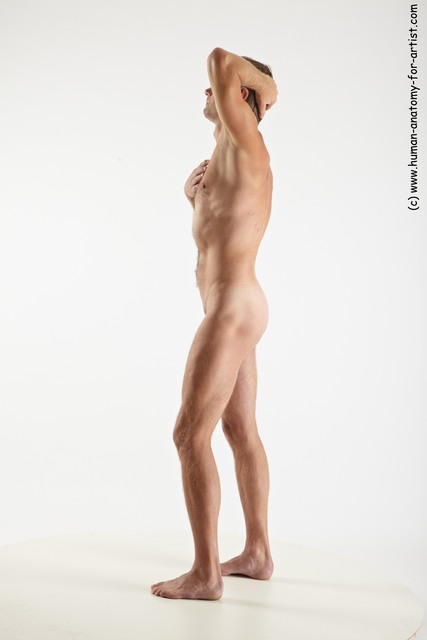 Nude Man White Standing poses - ALL Slim Short Grey Standing poses - simple