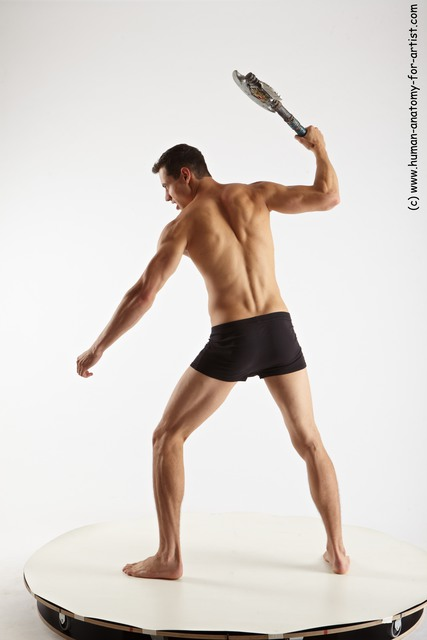 Underwear Fighting with axe Man White Athletic Short Brown