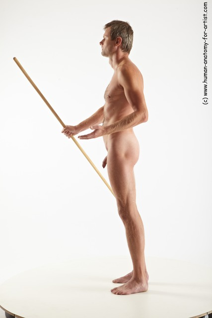 Nude Fighting with spear Man White Slim Short Grey