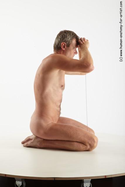 Nude Fighting with sword Man White Slim Short Grey