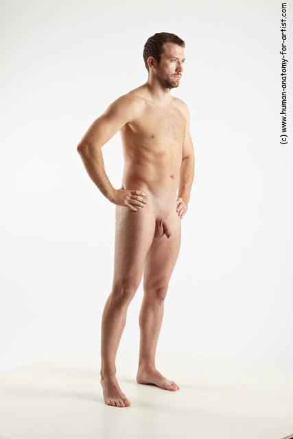 Nude Man White Standing poses - ALL Slim Short Brown Standing poses - simple