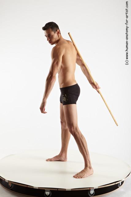 Underwear Fighting with spear Man White Athletic Short Brown