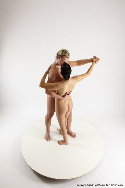 Nude Woman - Man White Standing poses - ALL Slim Long Blond Standing poses - simple Multi angles poses