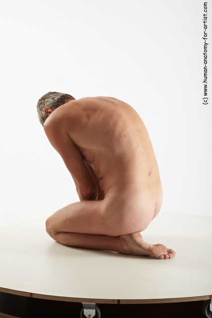 Nude Man White Slim Short Grey Sitting poses - ALL Sitting poses - on knees Multi angles poses