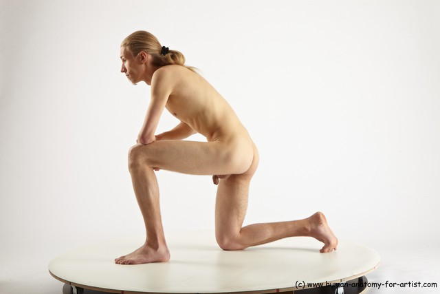 Nude Man White Kneeling poses - ALL Slim Long Blond Kneeling poses - on one knee