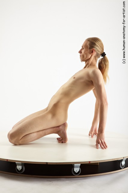 Nude Man White Slim Long Blond Sitting poses - ALL Sitting poses - on knees