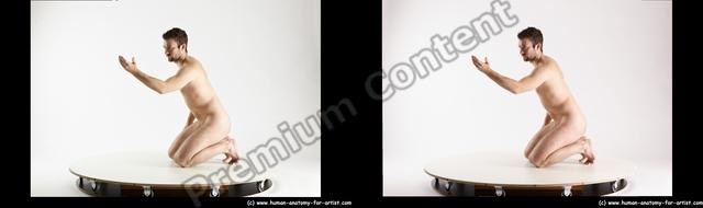 Nude Man White Kneeling poses - ALL Slim Short Brown Kneeling poses - on both knees 3D Stereoscopic poses