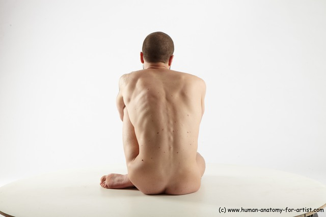 Nude Man White Sitting poses - simple Slim Short Brown Sitting poses - ALL