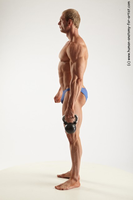 Swimsuit Man White Standing poses - ALL Muscular Short Blond Standing poses - simple