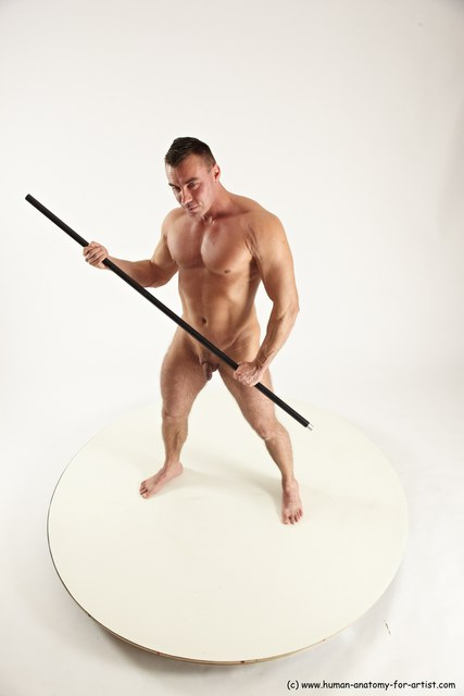 Nude Fighting with spear Man White Standing poses - ALL Muscular Short Brown Standing poses - simple Multi angles poses