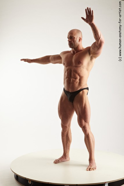 Swimsuit Man White Standing poses - ALL Muscular Bald Standing poses - simple