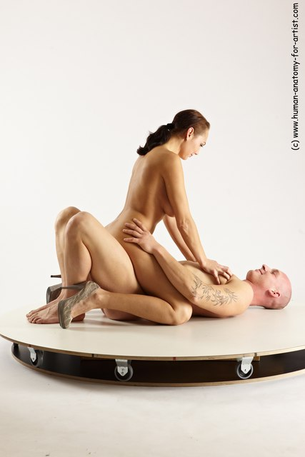 Nude Woman - Man White Laying poses - ALL Slim Bald Laying poses - on back Multi angles poses