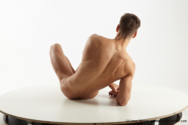 Nude Man White Sitting poses - simple Muscular Short Brown Sitting poses - ALL