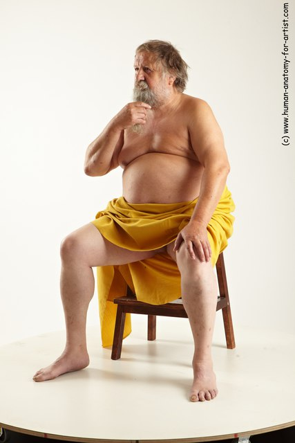 Drape Man White Sitting poses - simple Overweight Short Grey Sitting poses - ALL