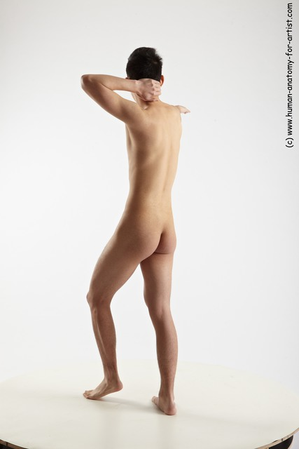 Nude Man Asian Standing poses - ALL Slim Short Black Standing poses - simple