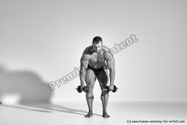 Underwear Man White Moving poses Muscular Short Brown Dynamic poses