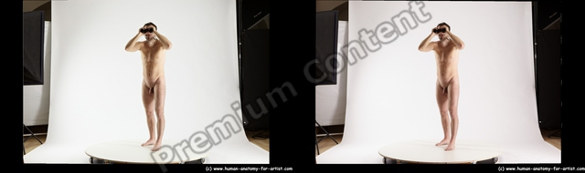 Nude Daily activities Man White Standing poses - ALL Slim Short Brown Standing poses - simple 3D Stereoscopic poses