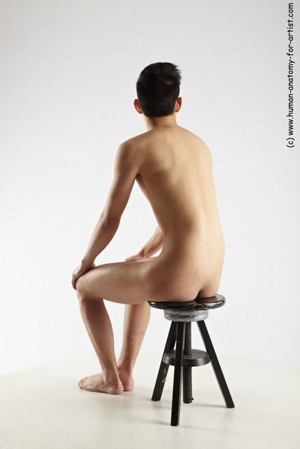 Nude Man Asian Sitting poses - simple Slim Short Black Sitting poses - ALL