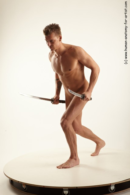 Nude Fighting with sword Man White Athletic Short Blond