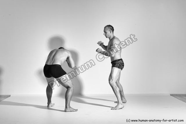 Underwear Martial art Man - Man White Moving poses Athletic Short Brown Dynamic poses