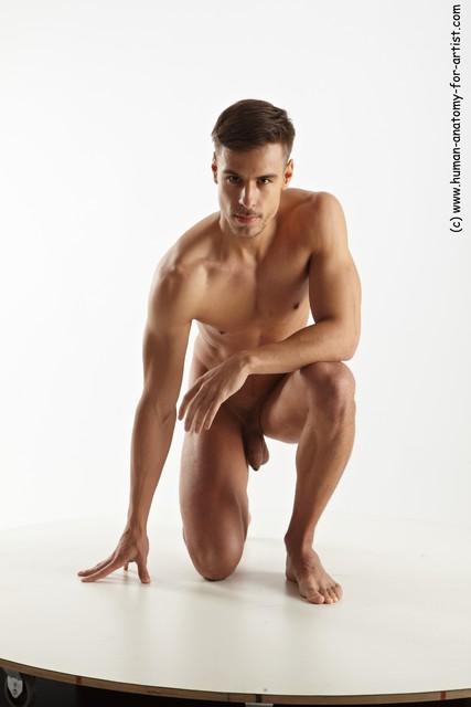 Nude Man White Kneeling poses - ALL Muscular Short Brown Kneeling poses - on one knee