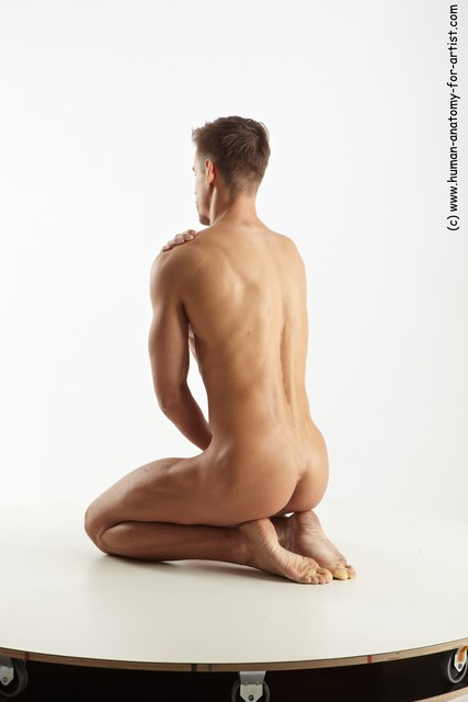 Nude Man White Muscular Short Brown Sitting poses - ALL Sitting poses - on knees