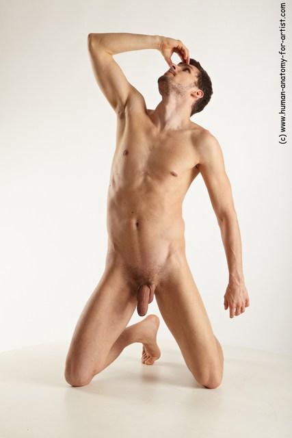 Nude Man White Kneeling poses - ALL Slim Short Brown Kneeling poses - on both knees