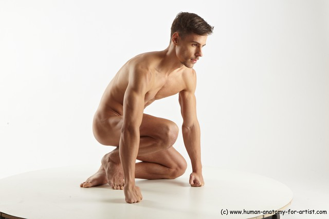 Nude Man White Standing poses - ALL Muscular Short Brown Standing poses - knee-bend