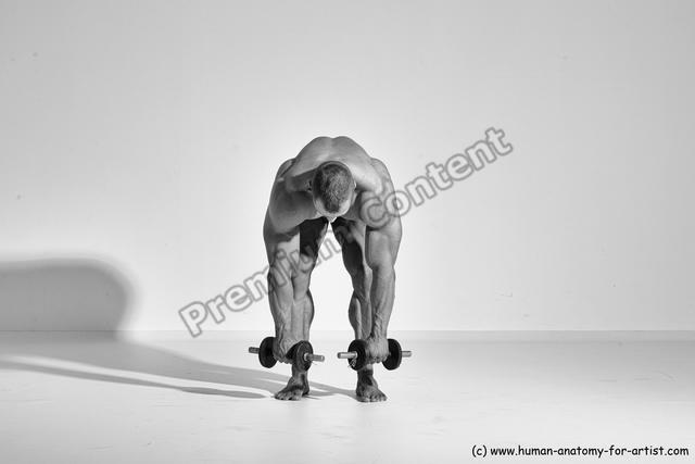 Underwear Man White Moving poses Muscular Short Brown Dynamic poses