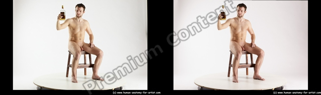 Nude Daily activities Man White Sitting poses - simple Slim Short Brown Sitting poses - ALL 3D Stereoscopic poses