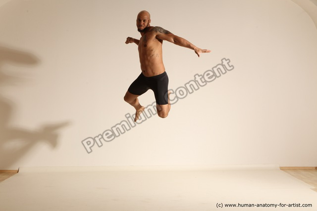 Underwear Gymnastic poses Man Black Moving poses Muscular Bald Dynamic poses