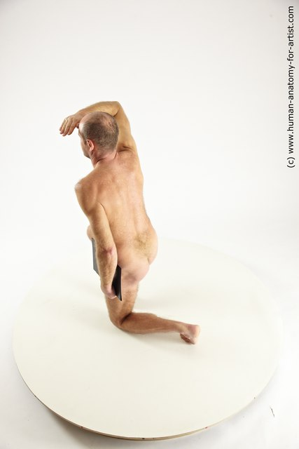 Photo of Nude Holding Man White Kneeling poses - ALL Slim Short Brown Kneeling poses - on one knee Multi angles poses