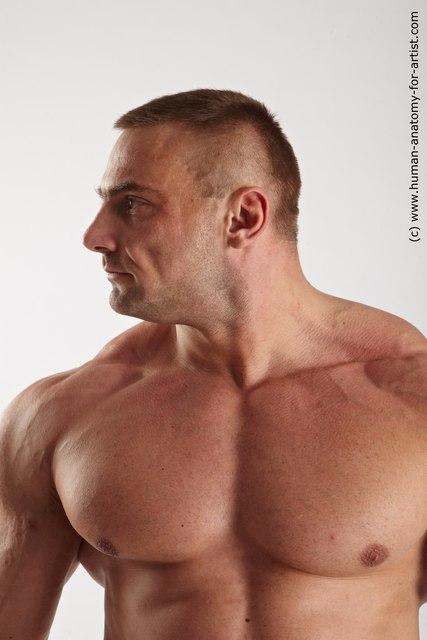 Swimsuit Man White Detailed photos Muscular Short Brown