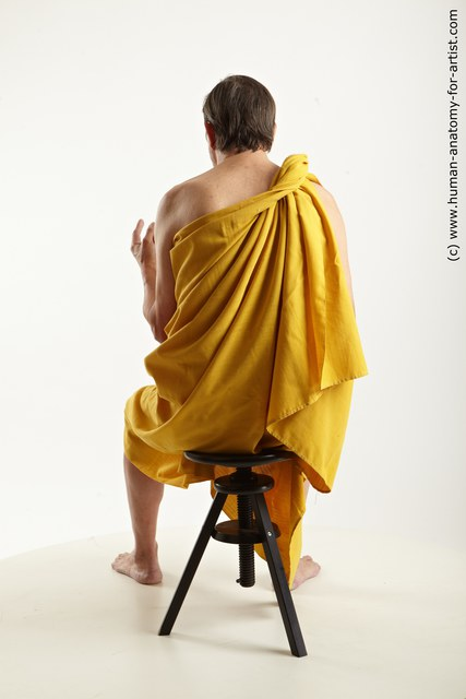 Drape Daily activities Man White Sitting poses - simple Average Short Brown Sitting poses - ALL