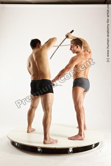 Underwear Fighting Man - Man White Moving poses Muscular Short Brown Dynamic poses